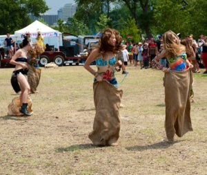 Sack races for flower children of all ages.