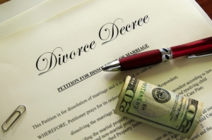 Divorce papers and cash with misc items