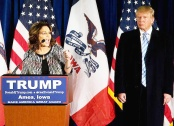 Donald Trump stands visibly uncomfortable while getting endorsed by Sarah Palin. I guess endorsement by Sarah Palin is probably like your own conception: you want it to happen, but don't want to be there when it happens.
